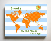 Dr Seuss, Personalised Canvas Nursery Striped World Map, Customised Baby Name Wall Art Decor, Unique Educational Painting, Memorable Boys & Girls Gift, Giclee Print Stretched on 100% Wood Frame 24X30