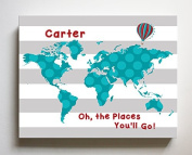 Dr Seuss, Personalised Canvas Nursery Striped World Map, Customised Baby Name Wall Art Decor, Unique Educational Painting, Memorable Boys & Girls Gift, Giclee Print Stretched on 100% Wood Frame 10X12