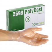 AmerCare Polycast Textured Powder Free Gloves, Medium, Case of 1000