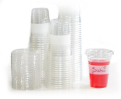 Tovla Clear Plastic 270ml Drinking Cups with Lids (100-Count Set) for Iced Coffee or Tea, Milk, Juice, Soda, Water   Disposable Party Drinkware, Writable Exterior   Kids