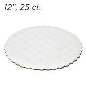 30cm White Scalloped Edge Cake Boards, 25 ct