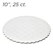 25cm White Scalloped Edge Cake Boards, 25 ct