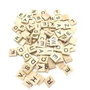HUELE 100Pcs/set Wooden Alphabet Letter Tiles Tiles Black Letters Numbers For Crafts Wood