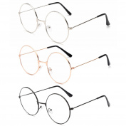 3Pairs Unisex Retro Round Eyeglasses 3 Different Colour Circle Metal Frame Clear Lens Glasses for Women Men