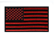 American Flag Tactical morale hook Patch Red/Blk (13cm Width x 7.6cm Height) by Miltacusa