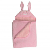Baby Mink Premium Soft Sherpa Character Hooded Towel Blanket, Rabbit, Pink