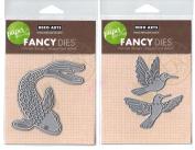 Hero Arts - Fancy Paper Layering Dies - Koi Fish with Frame & Hummingbird Pair - Two Frame Cut Die Sets