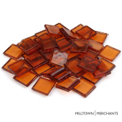"Milltown Merchants™ 7/8"" (22mm) Amber Transparent Glass Mosaic Tiles, 1.4kg (1420ml) Bulk Assortment of Mosaic Tiles"