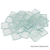 "Milltown Merchants™ 7/8"" (22mm) Clear Glass Mosaic Tiles, 1.4kg (1420ml) Bulk Assortment of Mosaic Tiles - Transparent Mosaic Tiles"