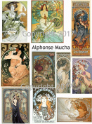 Vintage Printed Alphonse Mucha Reproduction Cards Collage Sheet #105 Scrapbooking, Decoupage, Labels