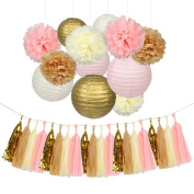 IMISNO 32 Pcs Ivory,Pink and Gold Tissue Paper Flowers Pom Poms Lanterns and Garland for Baby Shower Party Decoration,Perfect For Wedding Decor,Birthday Celebration,Table and Wall Decoration