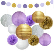 Fascola 13 pcs White Purple Gold Tissue Paper Pom Pom Paper Lanterns Circle Paper Garland Mixed Package for Purple Themed Party Wedding Paper Garland, Bridal Shower Decor Purple Baby Shower Decoration