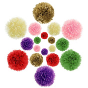 MAGICMAI 18pcs of 8, 10, 36cm - Tissue Hanging Paper Pom-poms,Perfect For Wedding Decor - Birthday Celebration - Table and Wall Decoration