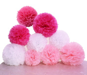 SUNSWEI 18PCS 25cm , 30cm , 36cm Tissue Paper Pom-poms, Tissue Flower Ball For Wedding Birthday Party and Baby Shower Decoration Premium Tissue Paper Pom Pom Flowers Craft Kit