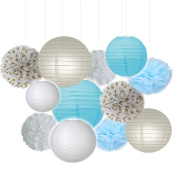 Fascola Pack of 12 Baby Blue White Grey Baby Boy Baby Shower/Party Paper Decorations First Birthday Boy Decorations Tissue Paper Pom Pom