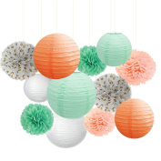 Fascola Pack of 12 Peach Mint Tissue Pom Poms Paper Lanterns and Polka Dot Paper Garland for Birthday Wedding Party Supplies,Gril Baby Shower Decorations