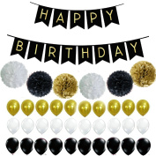Fascola Set of 37 Perfect Black and Gold Decoration Set, Happy Birthday Banner, Fluffy Pom Poms with Balloons, Best Party Supplies for 21st 30th 40th 50th any Bday Boy Girl Theme