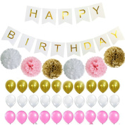 Fascola Perfect White Pink and Gold Decoration Set, Happy Birthday Banner, Fluffy Pom Poms with Balloons, Best Party Supplies for 21st 30th 40th 50th any Bday Boy Girl Theme