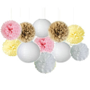 Fascola 11pcs Wedding Series Tissue Paper Pom Poms Paper Lanterns Party Decoration Fluffy Flowers Sweet Wedding Decoration Bridal Shower