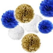 Fascola 9pcs Mixed Gold Royal Blue White Tissue Hanging Paper Pom-poms, Hmxpls Flower Ball Wedding Party Outdoor Decoration Premium Tissue Paper Pom Pom Flowers Craft Kit