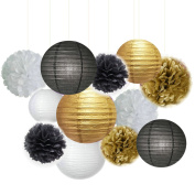 Fascola 12 pcs White Black Gold 25cm 20cm Tissue Paper Pom Pom Paper Lanterns Mixed Package for Lavender Themed Party Bridal Shower Decor Baby Shower Decoration