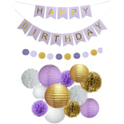 Fascola 14 pcs White Purple Gold Tissue Paper Pom Pom Paper Lanterns Circle Paper Garland with Large Purple Happy Birthday Wall Banner for Party Decorations, Versatile, Beautiful