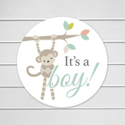 150cm - 3.8cm Monkey It's a Boy, Baby Shower Favour or Envelope Stickers