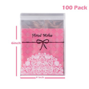 TripodGo 100 Pcs Cute 6x4 Self-sealing Clear Cellophane Bags, for Handmade Snake Bakery Candle Soap Cookie, Pink Tie, 100 Pcs