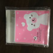 TripodGo 100 Pcs Cute 6x4 Self-sealing Clear Cellophane Bags, for Handmade Snake Bakery Candle Soap Cookie, Pink Bear, 100 Pcs