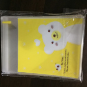 TripodGo 100 Pcs Cute 6x4 Self-sealing Clear Cellophane Bags, for Handmade Snake Bakery Candle Soap Cookie, Yellow Bear, 100 Pcs