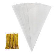 Outus 100 Piece Medium Transparent Cone Bags Clear Cello Bags Sweets Treat Bags with 100 Piece Gold Twist Ties, 30cm by 16cm
