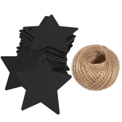 100 PCS Kraft Paper Tags Star Shape Gift Tags with 30m Natural Jute Twine String Idea for Wedding Favour Tags, Party Gift Tags, Price Labels, Luggage Tags (Black)