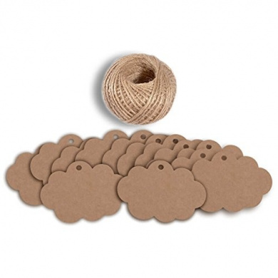 100 PCS Craft Paper Gift Tags 5CM 7CM Cloud Shape Wedding Party Favour Labels with 30 Metres Natural Jute Twine (Brown)