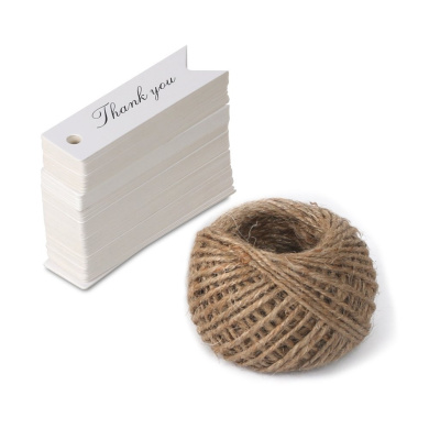 100 PCS 'Thank you' Printed Kraft Hang Tags for Wedding Favours Paper Gift Tags with 30m Jute Twine (White)