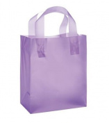 "Frosted Plastic Gift Bags with Handle 20cm x 13cm x 10"" 24 Pcs"