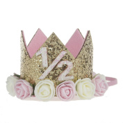 Baby Princess Tiara Crown, Aiernuo Kids First Birthday Hat Sparkle Gold Flower Style