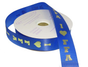 ACI PARTY AND SPIRIT ACCESSORIES FFA Imprint Ribbon, Royal Blue Ribbon with Metallic Gold Print Roll, 100 yd., Size #9 Ribbon