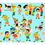 Retro Children's Birthday Party Gift Wrapping Paper -Two 80cm x 1.8m Sheets