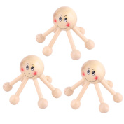 sourcingmap® Wooden Smile Face Pattern Family 6 Legs Health Care Tool Body Massage Roller 3pcs