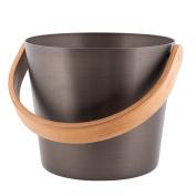 Rento - Design Sauna bucket / pail (Grip) - Aluminium and heat treated bamboo, tar brown, 5 litre [206745]