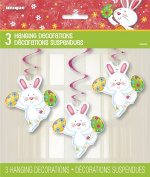 66cm Hanging Swirl Happy Easter Bunny Decorations, Pack of 3