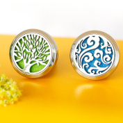 """2PCS Car Office Home Essential Oil Diffuser Locket Clip Air Fresher """"Wave""""+"""" Tree of Life"""" Stainless Steel Design"""