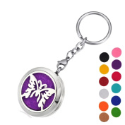 DIB Aromatherapy Essential Oil Diffuser Key Chain-Butterfly Stainless Steel Locket Pendant Keychain,12 Refill Pads