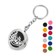 DIB Aromatherapy Essential Oil Diffuser Key Chain-Music Notes Stainless Steel Locket Pendant Keychain,12 Refill Pads