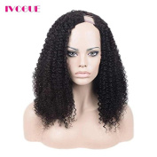 Human Hair U Part Wigs 180 Thick Density Afro Kinky Curly Upart Wig Mongolian Hair None Lace Human Hair Wig for Black Women with Combs or Clips Left Side Opening