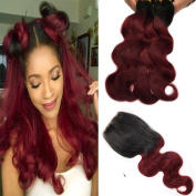 "BlackRose Hair Black to Wine Red Ombre Two Tone Body Wave Hair 3 Bundles with 4""X4"" Lace Frontal Brazilian Body Wave Virgin Lace Closure and Hair Bundles"