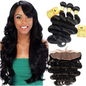 BlackRose Hair 8A Virgin Lace Frontal Closure (13×4) with 3 Bundles Body Weave Human Hair Bundles With Frontal , Natural Colour Wefts and Lace Closure