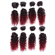 20cm 8PCS/set for One Full Head Blend 75% Brazilian Virgin Human Curly Hair and 25% Imported Japan Premium Synthetic Fibre Hair Weft Jerry Curly Hair Extensions(Black)