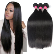 Longjia Hair Virgin Brazilian Straight Hair 3 Bundles Unprocessed Brazilian Virgin Hair Extensions Natural Black Brazilian Hair Weave Bundles