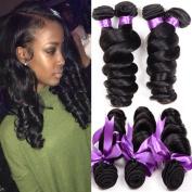 Cherie Hair 7A Grade Loose Wave Brazilian Hair 4 Bundles 100% Unprocessed Human Hair Natural Black 95-105g/pc